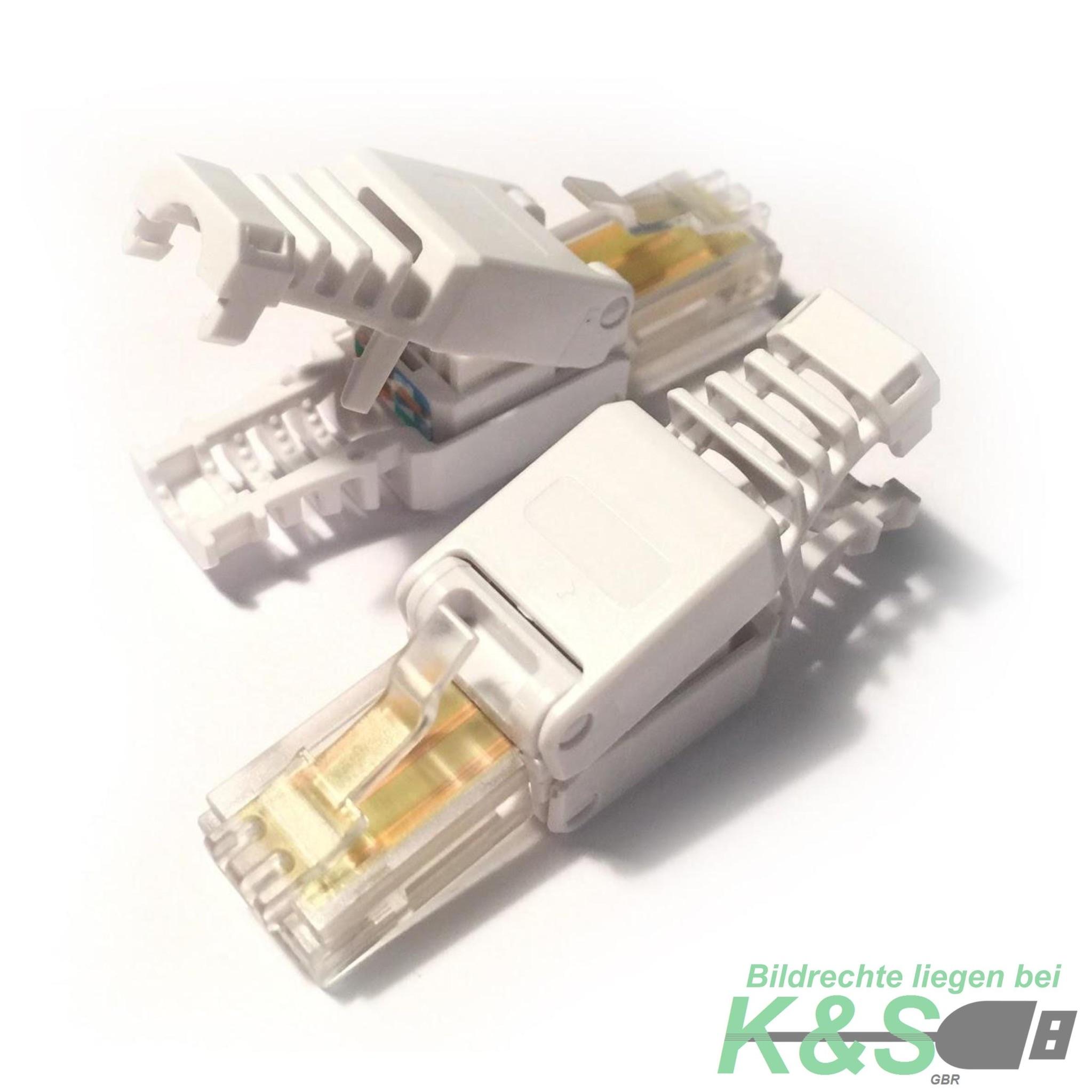 k&s cat 7 / 6 / 5 rj45 lan stecker zur werkzeuglose montage mit