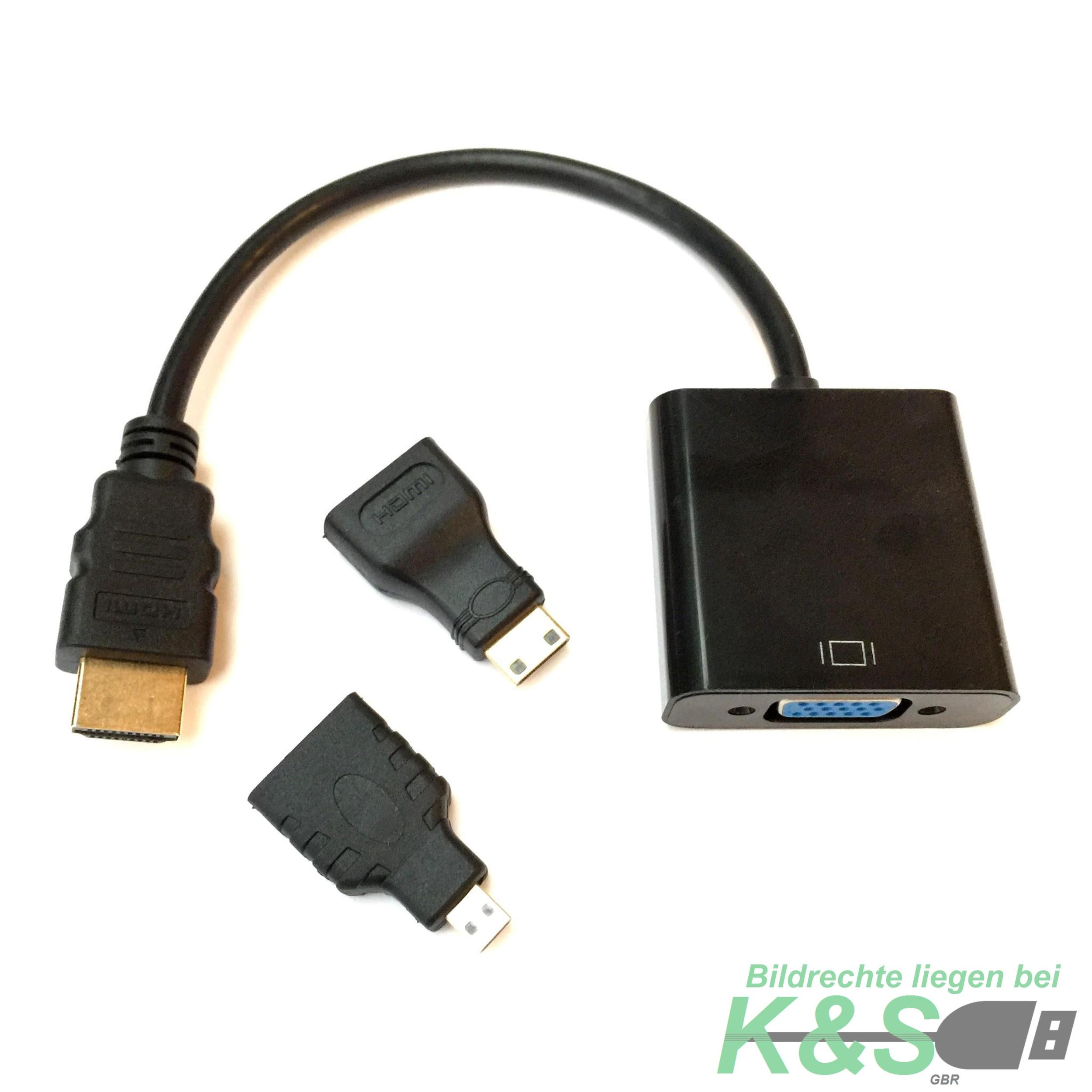 k s hdmi micro hdmi mini hdmi stecker auf vga buchse. Black Bedroom Furniture Sets. Home Design Ideas